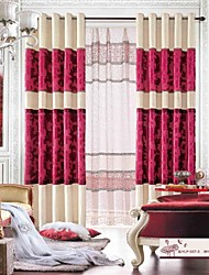 One Pair  Modern Chenille And Jacquard Velvet  Curtain  Panel With Sheer Set