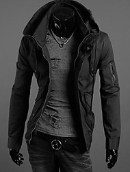 LiLuoKe Men's Fashion Slim Zipper Jacket(S665Black)
