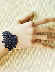 Handmade Black Lace Rose Retro Style Classic Lolita Ring Bracelet