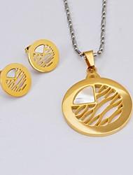 Fashion  Stripe Titanium Steel Necklaces Earrings  Gemstone Jewelry Sets