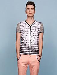 Homens Bosibio Stripe Imprimir cinzas T-Shirt