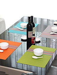Fashion Simply Style Assorted Color Striped Placemat for Dinner, L45cm x W 30cm, Heat Resistant PVC