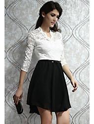 Damen Kleid - A-Linie Arbeit Knielang Polyester V-Ausschnitt