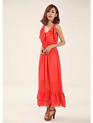 bohemia cor sólida plissado mostra vestido maxi fina das mulheres