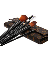 7PCS Wooden Handle Makeup Brush Set with Leatherette Pouch