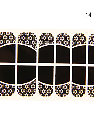 12st Deficiency bloemvorm Black Lace Nail Art Stickers NO.14