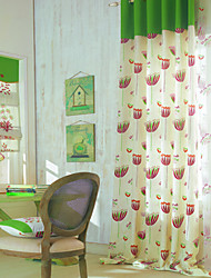 Two Panels Country Floral / Botanical Multi-color Kids Room Polyester Panel Curtains Drapes