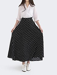 Women's Retro High Waist Dot Color Stitching Skirt
