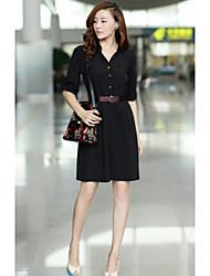Women's Solid Beige/Black/Green Dress , Work Shirt Collar Short Sleeve/½ Length Sleeve Pleated