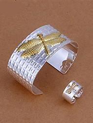 libélula de oro de época logo plateado de aleación de la joyería de la mujer (1 juego)