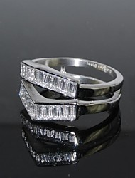 Vintage Women's Triangle Shape Double Ring  Cubic Zirconia Stone Rings  /Promis Rings For Couples
