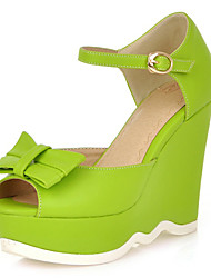 Women's Spring / Summer / Fall Wedges / Platform Leatherette Office & Career / Dress Wedge Heel Bowknot Yellow / Green / Purple