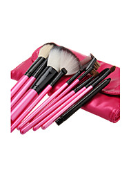 11PCS Wooden Handle Makeup Brush Set with Rose Leatherette Pouch