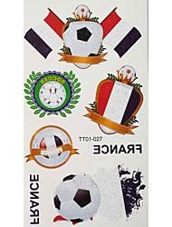 2шт Футбол Pattern Франция Кубок мира Водонепроницаемый татуировки тела Временная Блеск Стикеры