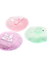 Round Shaped Villus with Bowknot Nature Sponges Powder Puff for Face (Random Colors,M)