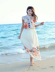 Women's Beach Dress Maxi Short Sleeve White Summer