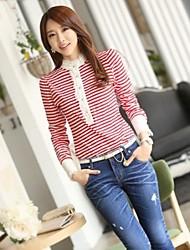 Slim Fit Stripe Lace T-shirt a manica lunga da JFS Corea sytle Donne