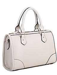 Totalizador de las mujeres del cuero Globalfreemen Boston Estilo Simplicidad Moda / Shoulder Bag (Crema)