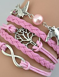 Women's Fashion Multideck Bird Tree Braided Bracelet Christmas Gifts