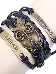 Браслеты ID браслеты Кожа Сова Для вечеринок / Повседневные Бижутерия Подарок Синий