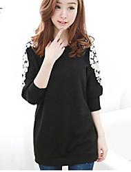 Hanlian Frauen Casual Perle Langarm-T-Shirt (schwarz)