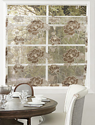 AnTi™ (One Panel) Country Fancy Coffee Blossoms Pattern Kitchen Sheer