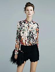 Yafeila Women's Vintage Floral Print Chiffon Shirt