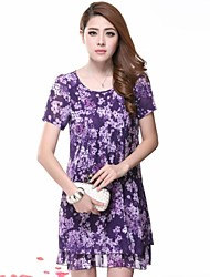 Women's Sexy / Beach / Cute / Party / Work / Plus Sizes Dress Mini / Above Knee Polyester / Chiffon