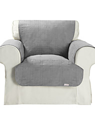 Waterproof Microsuede Grey Solid Cube Quilting Recliner Cover