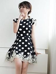 Women's Dress Above Knee Short Sleeve White / Black Summer