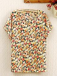 Vrouwen Point Collar Gele bloemen Print shirt