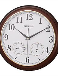 """13""""H Wood Wall Clock With Thermometer & Hygrometer"""