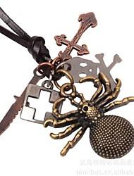 Collar de cuero de bronce antiguo de la araña de los hombres