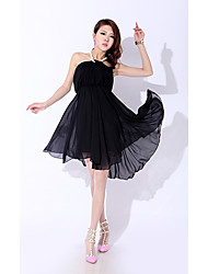 Women's Solid Black/Pink/White Dress , Casual Halter Sleeveless Pleated/Criss-Cross/Ruched