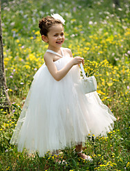Ball Gown Tea-length Flower Girl Dress - Tulle Sleeveless Straps with Flower(s)
