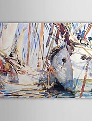 hand geschilderd olieverf abstract witte boot met gestrekte frame klaar om op te hangen