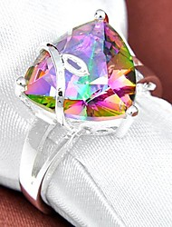 Newest Vintage Rainbow Mystic Topaz Gemstone Silver Ring 1Pc