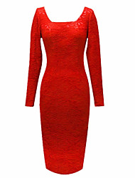 MS Red Lace Slim Fit Dress