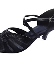 Customized Women's Black Satin with Sparkling Upper Latin Salsa Dance Shoes