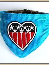 Tissu de velours côtelé bleu avec des étoiles drapeau brodé cuir véritable chiot Bandana colliers pour animaux de compagnie Chiens (tailles assorties)