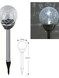 1-LED en acier inoxydable solaire Blanc Crackle Boule en verre participation Lampe de pelouse Lumière