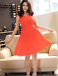 Moda Verão Novo Chiffon mangas Metade Vestido das Lanjie Mulheres (laranja)