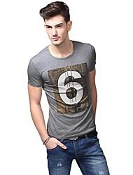 Verão Casual redondas do pescoço da forma Grey T-shirt dos homens U-Tubarão Fazendo shirt EOZY
