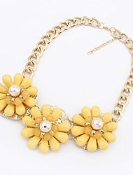 Maki Flower Exaggerate Fresh Yellow Necklace