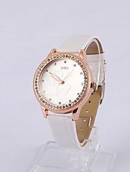 Womage Frauen-Rosen-Diamant-Mode-Uhr (weiß)