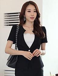 Women's Black Blazer , Sexy/Work/Plus Sizes Short Sleeve