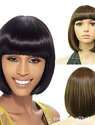 Capless Short Bob High Quality Synthetic  3 Colors  Straight Hair Wig Full Bang