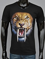 Heren Black Cotton Animal Tirger met lange tanden bedrukte T-shirt