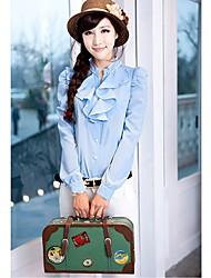 Mulheres Camisa Todas as Estações,Sólido Azul / Vermelho / Branco Gola Redonda Manga Longa Fina / Leve Transparência