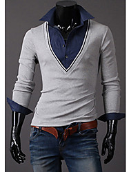 Debe Men's V Neck Two Piece Like Long Sleeve T-Shirt